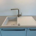 Design-Küche in Weiß Hochglanz lackiert, mit 12mm Keramikplatte